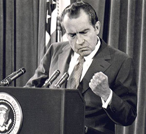 Richard Nixon at press conference crop